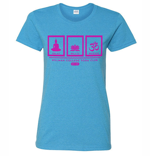 RELAX RELATE RELEASE Ladies Tee | HEATHER BLUE & HOT PINK: EXTRA LARGE