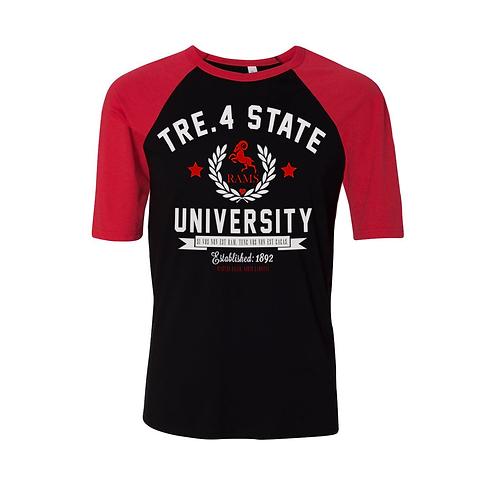 BLACK + RED - TRE.4 STATE - S/S RAGLAN - XL