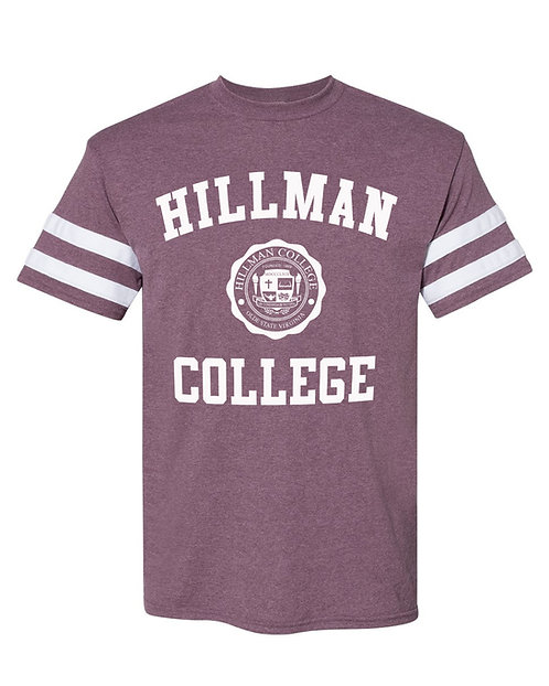Heather Maroon + White Hillman Softball Tee:  3XL