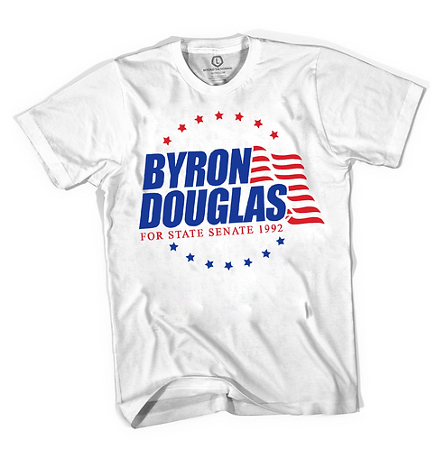 RETRO WHITE - BYRON DOUGLAS T-SHIRT - MEDIUM
