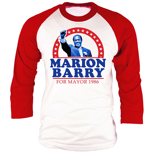 RED & WHITE - MARION BARRY RAGLAN - SMALL