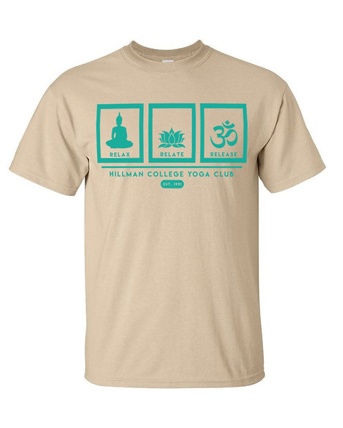 RELAX RELATE RELEASE - Tan & Teal T-Shirt - EXTRA LARGE
