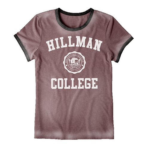 Hillman Ladies Dark Maroon & Black Burnout Ringer T-Shirt - LARGE