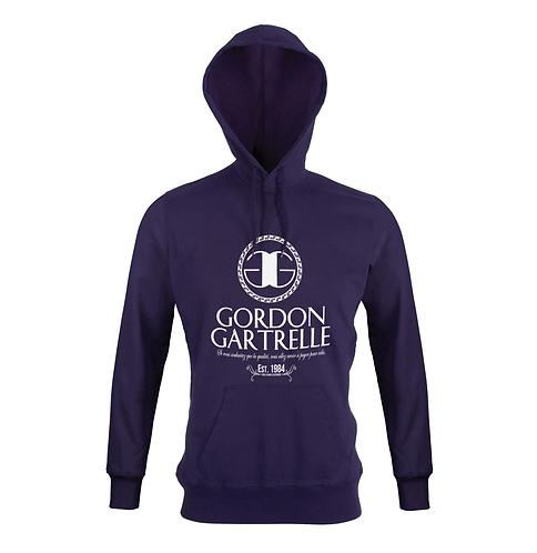 Purple + White T-Shirt Hoodie: 2XL
