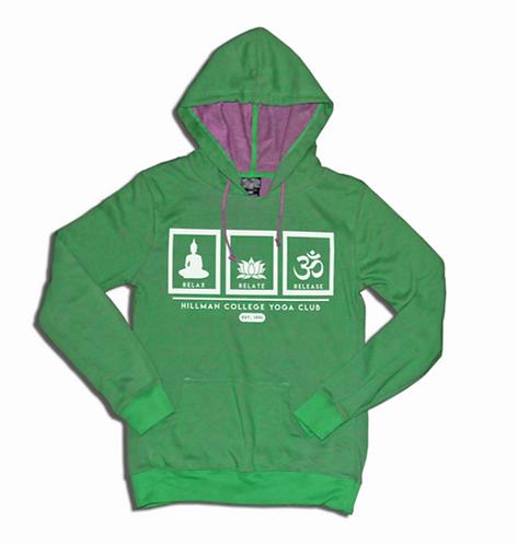 RELAX RELATE RELEASE Ladies Yogo Hoodie | Green & Purple: Juniors SMALL
