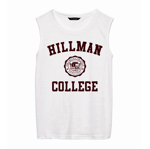 Hillman Ladies White Linen Loose Fitting Name Brand Tank Top - XXS