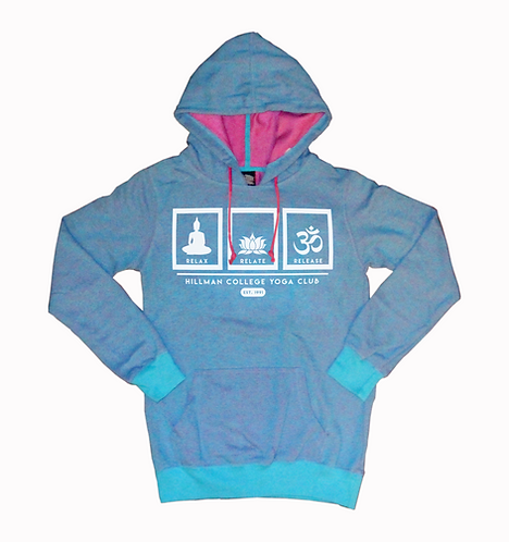 RELAX RELATE RELEASE Ladies Yogo Hoodie | Aqua & Hot Pink: SMALL