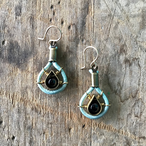 Leather, Brass and Onyx Earrings