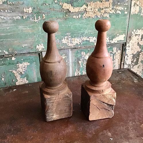 Pair of Vintage Wood Finials