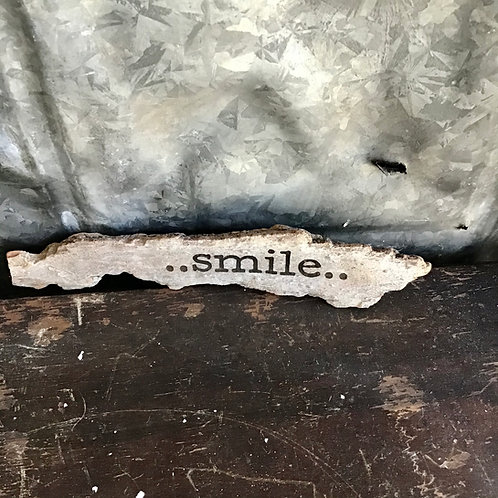 Smile on  a Little Piece of Found Wood