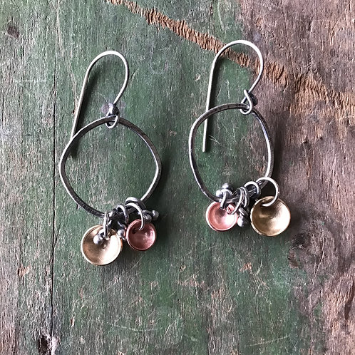 Sterling Silver Earrings Accented with Brass and Copper