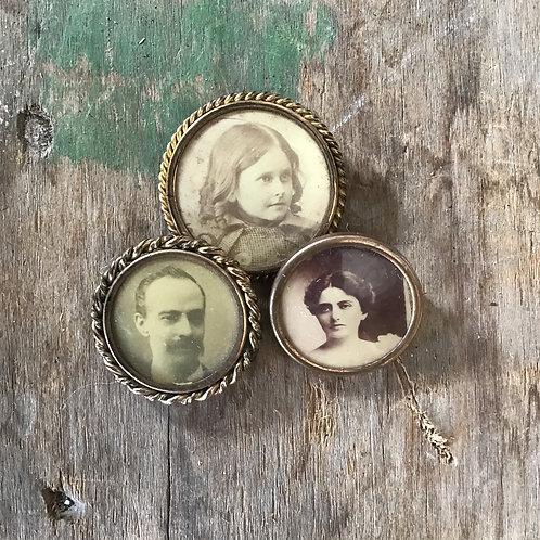 Set of 3 Vintage Photo Pins