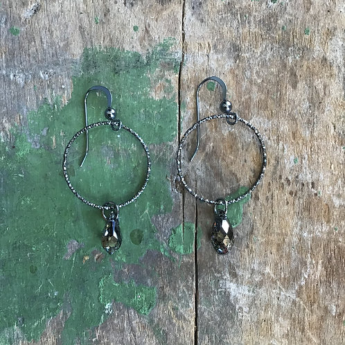 Oxidized Sterling Silver Earrings with Crystal