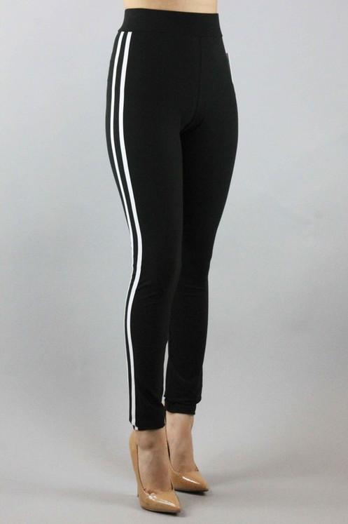 fbe4f84a77e6a5 High Quality Leggings W/White Stripes-Black