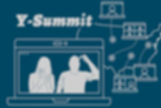 "Watch Y-Summit Recorded Webinars Here. Image of blue background with ""Y-Summit"" title in gray and includes a gray image of a laptop with Russ and Melody's silhouette set in front of an outline of the United States of America with participant laptops."