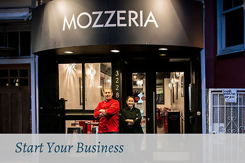 Sign up for Start Your Business. Russ and Melody Stein standing in front of Mozzeria restaurant.