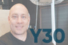 "Watch Y30 Recorded Webinars Here. Image of Russ Stein's headshot as a faded white background with ""Y30"" title on it in blue."