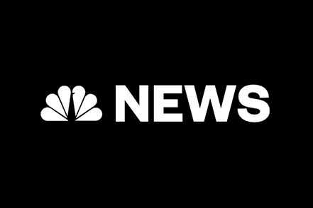 "NBC News. Black background with white NBC peacock logo and ""NEWS"" in white capital letters."