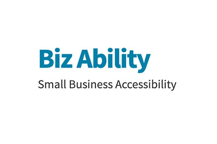 "Biz Ability, Small Business Accessibility. Image of white background with ""Biz Ability"" in blue thick text and ""Small Business Accessibility"" in small black text."