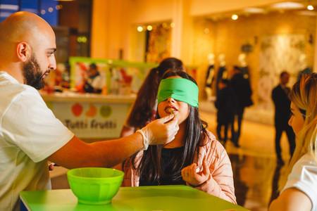 Eating sweets at Dalma Garden Mall