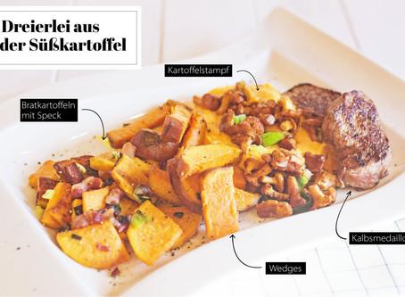 Dreierlei von der Süßkartoffel mit Pfifferlinge & Kalbsmedaillons