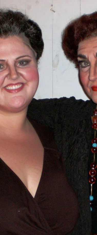 with Victoria Livengood after performing as Mrs. Gobineau in The Medium