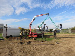 Lifting the sculpture into position