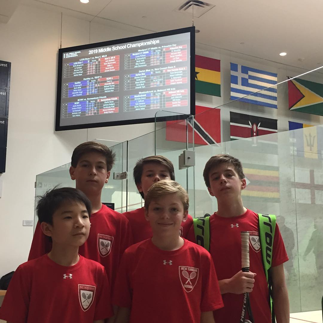New Cannan Middle School (Saxe) team at US Squash Middle School Nationals 2020