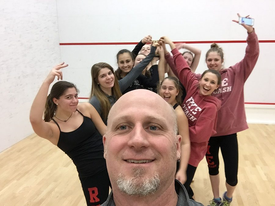 Rye Girls Varsity squash team and Coach Anthony Campbell winner of the FairWest Cup 2017.