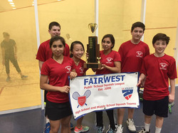 Greenwich Middle School squash team winners at FairWest Cup 2018.