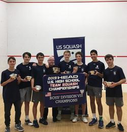Westport (Staples) Varsity team winner of Boys Division VII at US Squash High School Nationals 2019.