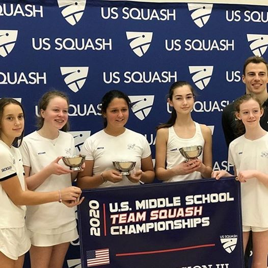 Darien Middle School Girls squash team winner of US Squash Middle School 2020 Girls Nationals Div 3
