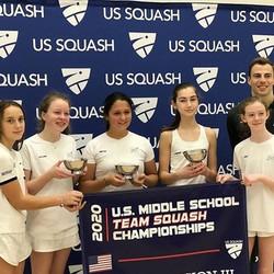 Darien Middle School Girls squash team winner of US Squash Middle School 2020 Girls Nationals Div 3