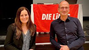 Unsere Direktkandidaten für die Frankfurter Wahlkreise 182 und 183, Janine Wissler und Achim Kessler