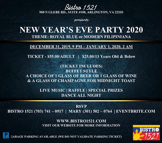 Bistro 1521 New Year's Eve Party 2020.jp
