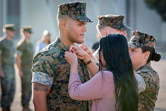 Family Page Marine and Wife at Promotion