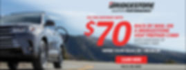 """Bridgestone """"Go The Distance"""" Rebate. $70 back by mail on a Bridgestone Visa Prepaid Card with purchase of 4 eligible tires. Offer Valid 04.02.20 - 05.04.20 - click for offer details"""