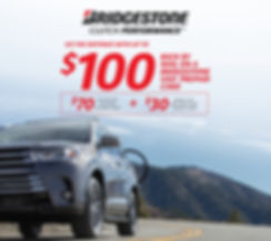 OFFER VALID April 2 – May 4, 2020  Eligible tires: DriveGuard, Dueler, Ecopia, Potenza and Turanza. Limit 2 per household. Participating U.S. stores only. Claim form required. Not combinable with other offers. Certain restrictions apply. Void where prohibited. See BridgestoneRewards.com for details. Prepaid card is issued by The Bancorp Bank, Member FDIC, pursuant to a license from Visa U.S.A. Inc. and may be used everywhere Visa debit cards are accepted. Prepaid cards are issued in connection with a reward. Prepaid card terms, conditions and expirations apply. All trademarks and brand names belong to their respective owners. Receive the $100 reward when you make a qualifying tire purchase with any eligible CFNA credit card account. Prepaid card cannot be used to pay any CFNA credit card balance. Subject to credit approval. The Bancorp Bank is not affiliated in any way with this credit card offer and does not endorse or sponsor this credit card offer.