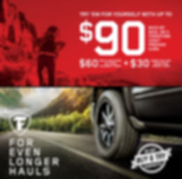 June 10 – August 5, 2020 Conditions apply. See FirestoneTire.com/warranty for details. Eligible tires: Destination, Champion, Weathergrip and Firehawk. Limit 2 per household. Participating U.S. stores only. Claim form required. Not combinable with other offers. Certain restrictions apply. Void where prohibited. See FirestoneRewards.com for details. Prepaid Card is issued by The Bancorp Bank, Member FDIC, pursuant to a license from Visa U.S.A. Inc. and may be used everywhere Visa debit cards are accepted. Prepaid Cards are issued in connection with a reward. Prepaid Card terms, conditions and expirations apply. All trademarks and brand names belong to their respective owners. Receive the $90 Prepaid Card when you make a qualifying tire purchase with any eligible CFNA credit card account. Prepaid Card cannot be used to pay any CFNA credit card balance. CFNA credit card subject to credit approval. The Bancorp Bank is not affiliated in any way with this credit card offer and does not endor