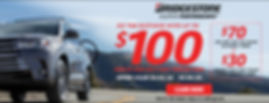 """Bridgestone """"Go The Distance"""" Rebate. Up to $100 bacl by mail on a Bridgestone Visa Prepaid Card with purchase of 4 eligible tires when you u. Offer Valid 04.02.20 - 05.04.20 - click for offer detailse your CFNA CREDIT CARD"""