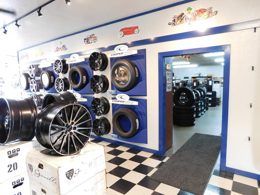 Wheels and tires on display