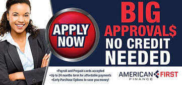 American First Finace Apply Now Image. Please click for details and to apply for credit.
