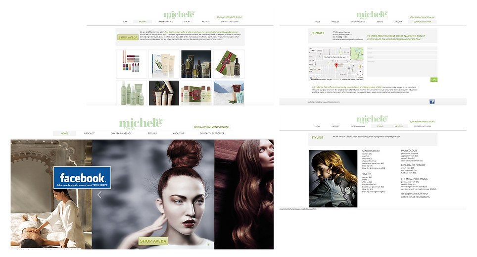 AVEDA concept hair salon website and logo design