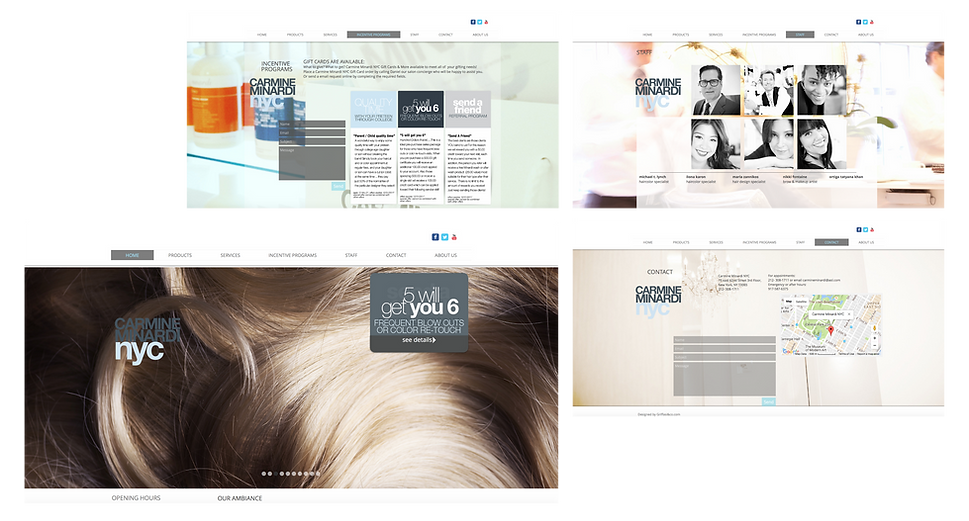 MINARDI hair salon website and logo design