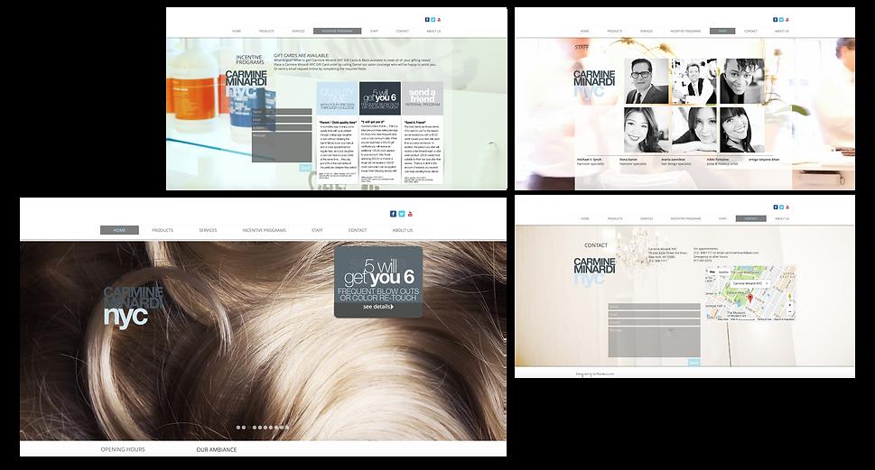 MINARDI hair salon website and logo design