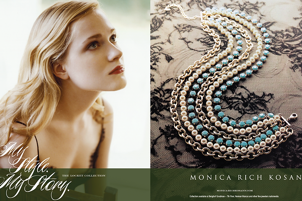 Monica Rich Kosann luxury jewelry ad campaign print an webprint and website campaign