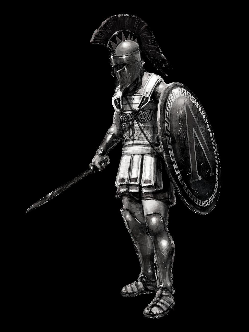 Greek Hoplite Black & White 3.png