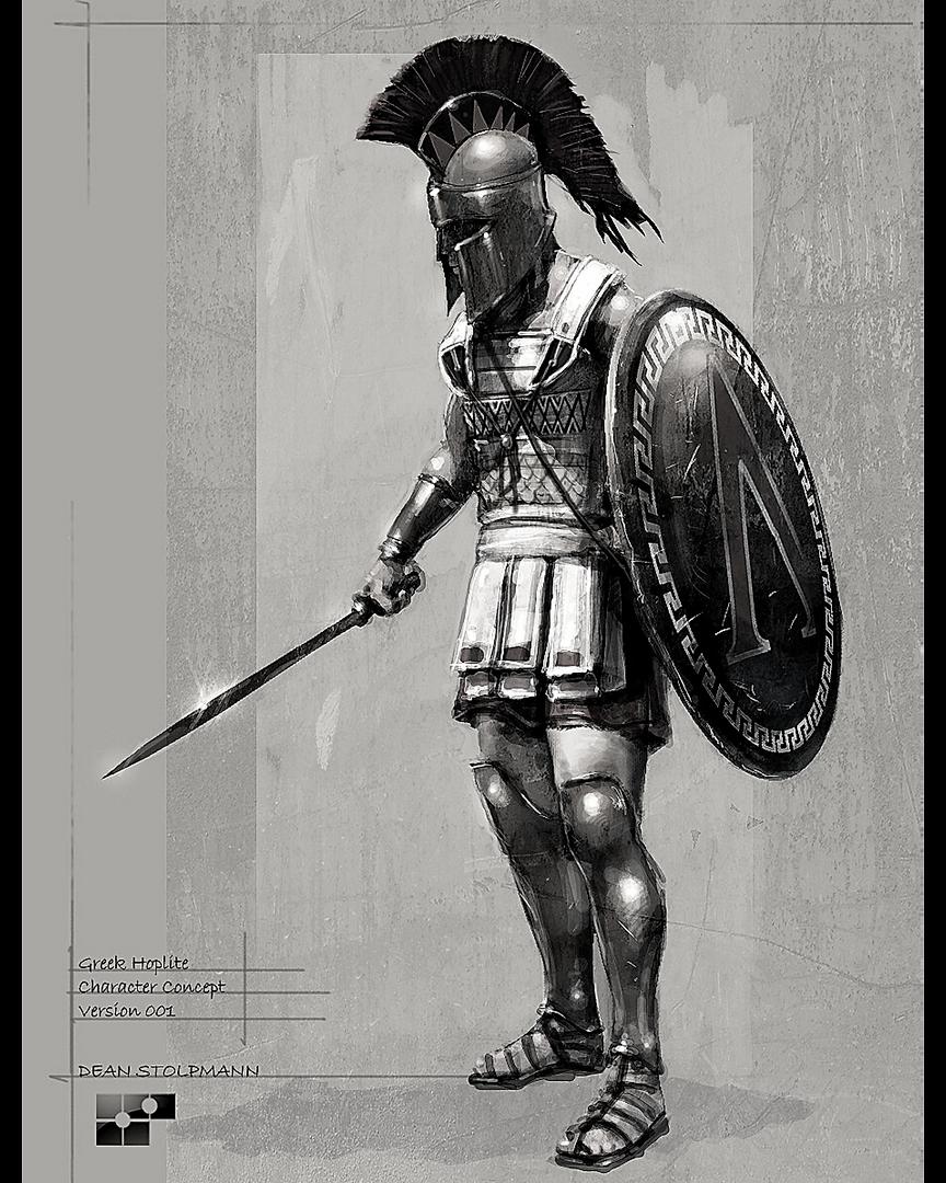 Greek Hoplite 1 Black & White.png