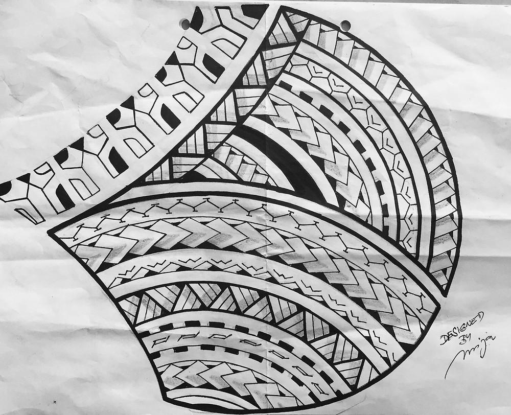 Návrh maori tetování - Studio Tattoo Mija Praha