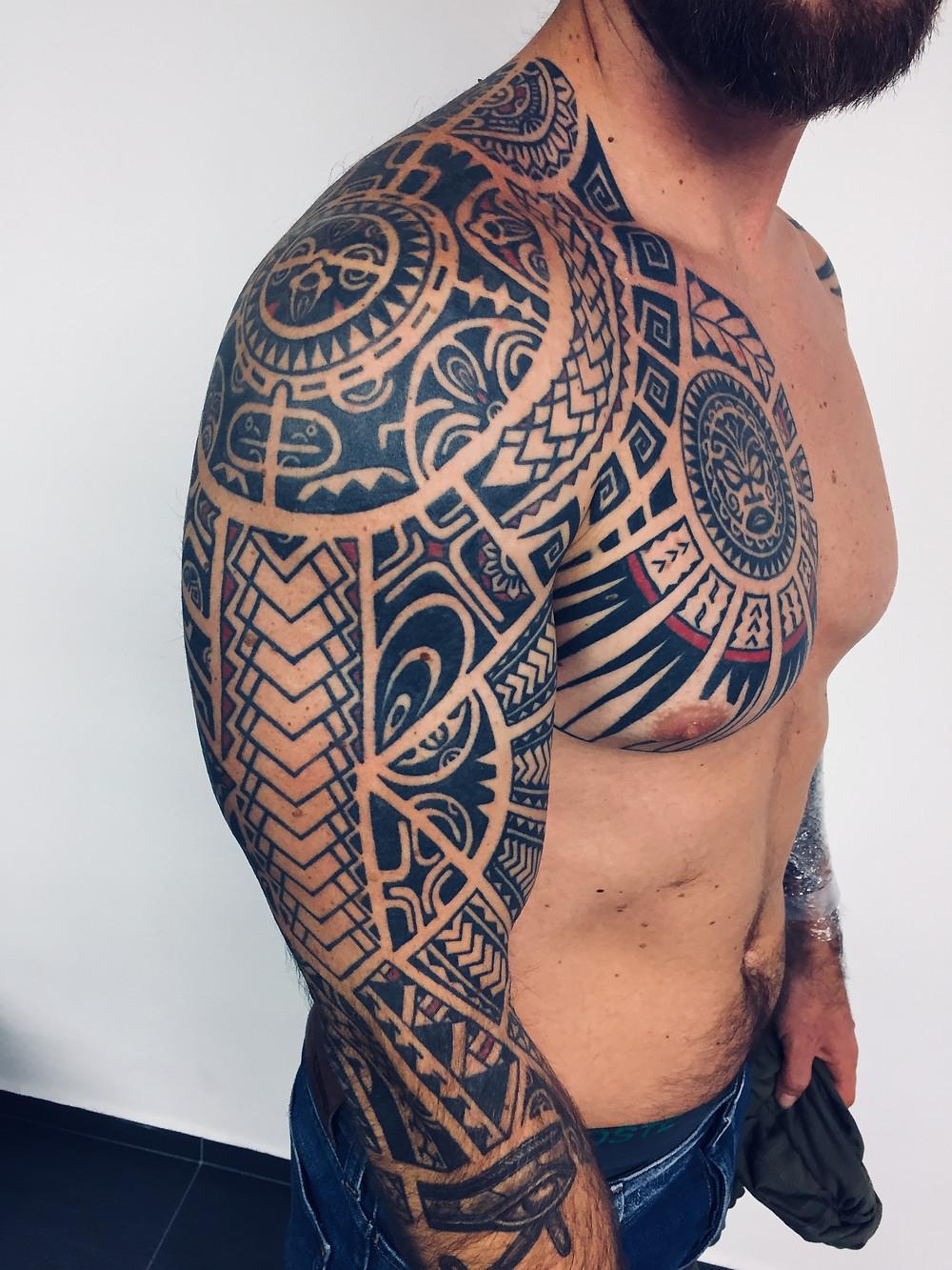 Maori rukáv tetování - Studio Tattoo Mija Praha